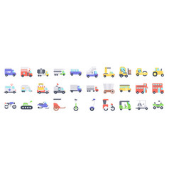 transportation related icon set 2 flat style vector image