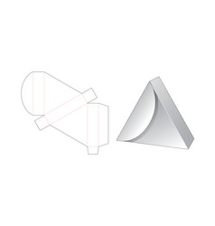 Triangle gift box die cut template vector