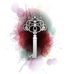 Vintage key in front of colorful splashes vector