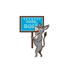 Vote 2016 Democrat Donkey Mascot Cartoon vector