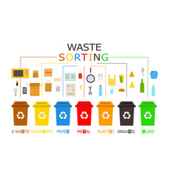 Waste management concept 7 colored recycling bins vector
