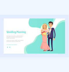 wedding planning happy couple arranging love party vector image
