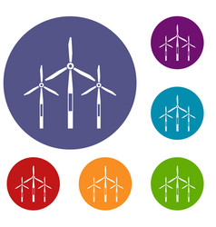 Wind generator turbines icons set vector