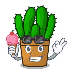With ice cream character spurge cactus home decor vector