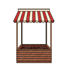 Wooden booth stand scribble vector