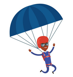 Young happy man flying with parachute vector