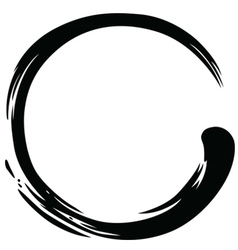 Zen circle black ink paintbrush vector