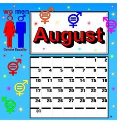 calendar for August festival womens vector image vector image