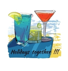cocktails set for beach Holidays together Hand vector image vector image