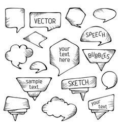 Hand-drawn pencil speech bubbles vector image