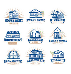 isolated blue color architectural houses icons for vector image