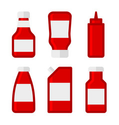 ketchup sauces bottles and packages set vector image
