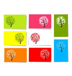 tree floral cards vector image vector image