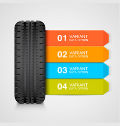 Black rubber tire colorful infographics vector