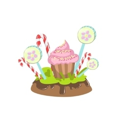 Cupcake Hard Candy Stick And Lollypop Vegetation vector image