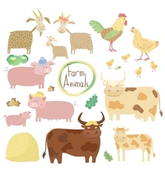 Cute farm animals set on white background vector image