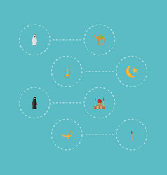 flat icons muslim woman genie pitcher and other vector image