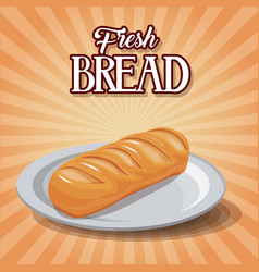 Fresh bread and wheat whole cereal nutrition vector