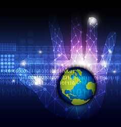 global technology in hand vector image vector image