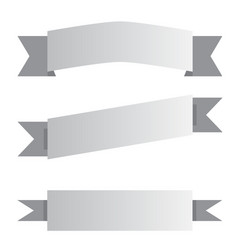 three white and black ribbon banner on white vector image