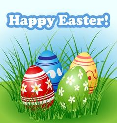 Easter egg set in grass vector image