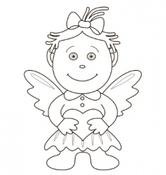 girl angel with heart contours vector image