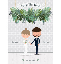 green wedding cartoon bride and groom invitation vector image
