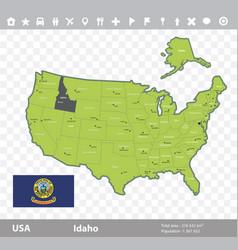 idaho flag and map vector image vector image
