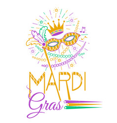 mardi gras party mask vector image vector image