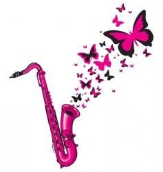 pink saxophone vector image