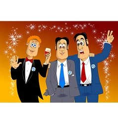 three friends at a party vector image