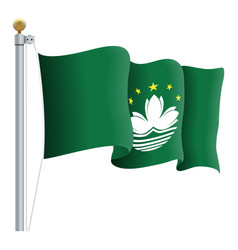 waving macau flag isolated on a white background vector image