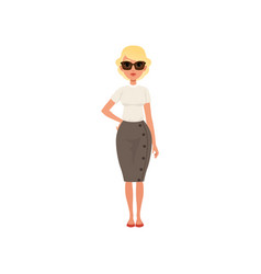 beautiful blonde young woman in fashion outfit vector image
