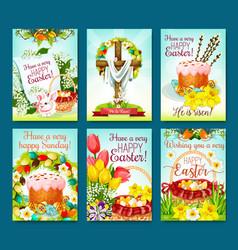 easter egg hunt celebration cartoon poster set vector image vector image