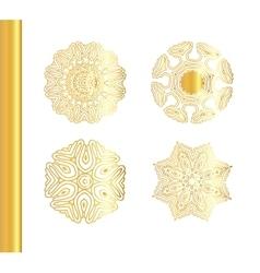 Geometric gold mandala set vector image