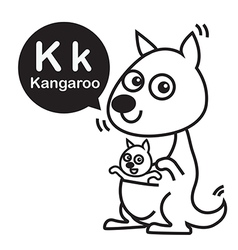 K Kangaroo cartoon and alphabet for children to vector image