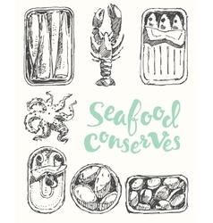 Seafood conserves vintage engraved drawn sketch vector