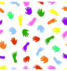 Seamless pattern hand and foot colorful prints vector image vector image