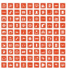 100 set grunge orange vector