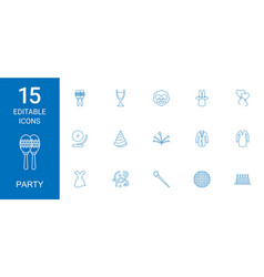 15 party icons vector image
