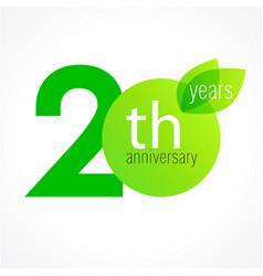 20 anniversary green logo vector