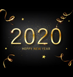 2020 golden luxury text happy new year vector image