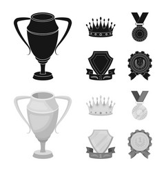 a silver cup a gold crown with diamonds a medal vector image