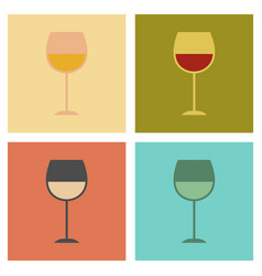 Assembly flat icons glass of wine vector