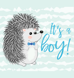 baby shower greeting card with cute hedgehog boy vector image
