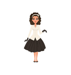 Beautiful brunette young woman in black skirt vector