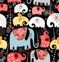 beautiful pattern colorful elephants vector image