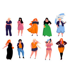 Beautiful plus size woman dressed in casual vector