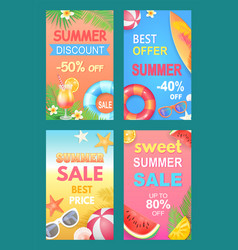 best offer summer posters set vector image