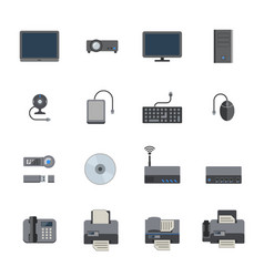 Big data icon set computer and devices vector